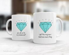 Funny Bridesmaid Proposal Gift Mug Will You Be My Bridesmaid Maid of Honor Matron Invite Bridal Party Customized Gifts Cute Fun Quote Mugs I Got The Ring Now I Need One More Thing...a fun way to ask your dearest friends and family to be part of your big day! This sweet little gem is perfect for your entire bridal party...from bridesmaids to maid and matron of honor to junior bridesmaids shell put a smile on everyones face! Design is printed on both the front and back so its cute face can be…
