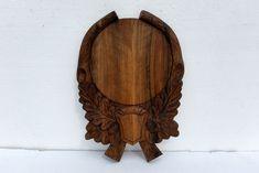 Oval Trophy Shield in oak Bright Horned Board Deer Hunting