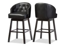 Wholesale Interiors Baxton Studio Avril Modern and Contemporary Black Faux Leather Tufted Swivel Barstool with Nail heads Trim