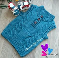 "Chaleco con guardamanos ""This post was discovered by Nev"", ""It's a beautiful baby vest."", ""audrey y gianluca"", ""You can do this baby to your baby Crochet Baby Poncho, Baby Boy Knitting, Knitted Baby Cardigan, Knitting For Kids, Knitting Patterns Boys, Kids Vest, Knit Vest Pattern, Sweater Design, Baby Sweaters"
