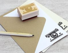 Camera Rubber Stamp: Wood Mounted - Photographer, Travel, Vacation - DIY Stationery. $19.50, via Etsy.