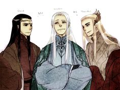 "Elrond, Celeborn, and Thranduil from ""Lord of the Rings""/""The Hobbit"" - Art by Tenra"