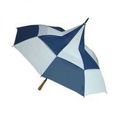 This windproof golf umbrella is a little different from the conventional golfing umbrella!  It's quite unusual to see a pagoda shaped golf umbrella but this particular umbrella has the unique Umbrella Heaven built in double dome wind resilience technology. This eye catching navy blue and white vented windproof golf umbrella has an automatic opening system and is double spoked to provide maximum resistance to the wind.  It comes with a straight wooden handle and matching brown spoke tips and…