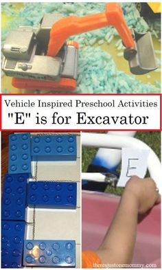 """Ready to dig up some fun with vehicle activities for the letter """"E""""? Check out these fun preschool learning activities! Preschool Centers, Preschool Learning Activities, Preschool At Home, Toddler Preschool, Preschool Activities, Letter E Activities, Hands On Activities, Nanny Activities, Kids Daycare"""