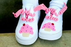 Birthday Shoes  Hand painted Cupcake shoes for girls  by Snanimals, $27.00