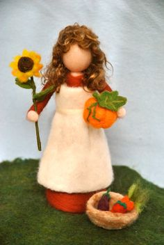 Items similar to Waldorf inspired needle felted doll/Standing doll: Autumn fairy with sunflower,pumpkin and vegetables. Made to Order on Etsy Needle Felted, Wet Felting, Felt Mushroom, Hedgehog Craft, Halloween, Autumn Fairy, Felt Fairy, Waldorf Dolls, Doll Hair