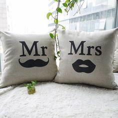 Cadeau de mariage taie d'oreiller, coton épais coussin de sofa, 2 pcs/beaucoup., mr et mme 45cm*45cm coussin de voiture livraison gratuite