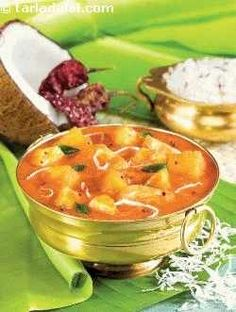 """""""This elaborate version of sambhar is a primary side dish whose smell will linger in your hands long after you are done with the meal, thanks to the exciting array of spices used in it. Veg Recipes, Curry Recipes, Vegetarian Recipes, Cooking Recipes, Dinner Recipes, Banana Recipes Indian, Indian Food Recipes, Ethnic Recipes"""
