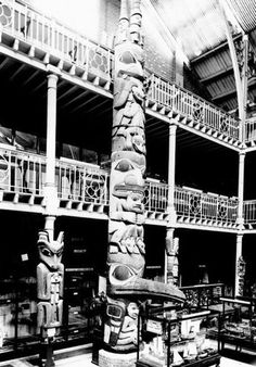 The Star House frontal pole after it was moved to the Pitt-Rivers Museum in Oxford University.