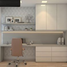 HOME OFFICE. In this compact space, the Home Office is designed in light tones ... #compact #designed #Home #Light #Office #space #tones