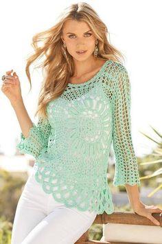 Patrón #1316: Blusa a Crochet | CTejidas [Crochet y Dos Agujas]