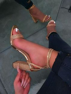 Patent material Rhinestone detail on straps and heel inch heel True to size Dr Shoes, Cute Shoes Heels, Cute High Heels, Fancy Shoes, Gold Shoes, Pretty Shoes, Gold High Heels, Gold Heels For Prom, Sparkly Gold Heels