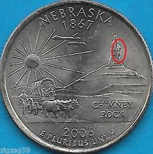 2006 P NEBRASKA STATE QUARTER ERROR COIN- REV LARGE CUD ON ROCK - OBV DIE CHIPS