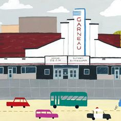 Garneau Theatre - Edmonton Landmark art print, home decor  Edmonton landmark art print with a unique Mid-Century / Folk Art take. A perfect Edmonton gift idea for any city lover or that poor soul that is leaving town. Purchase on www.snowalligator.com  Illustration by local artist Jason Blower  #yeg #yegart #yegwallart #wallart #EdmontonArt #edmontongift #yeggift #snow_aligator #charmingart #cuteart #midCentury #Folkart #cuteart #charmingart #edmontonartist