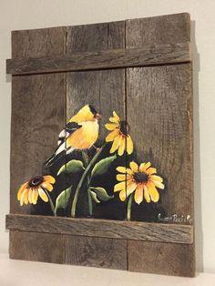 Pallet Painting Distressed Wood Art Pallet Art by PalletPalz Wood Painting Art, Pallet Painting, Pallet Art, Tole Painting, Fabric Painting, Painting & Drawing, Fence Art, Bird Art, Painting Inspiration
