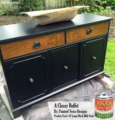 Painted Twice Designs, https://www.facebook.com/pages/Painted-Twice-Designs/181773958662727?fref=ts, painted this buffet with GF Lamp Black Milk Paint.  Love the modern sleek look!