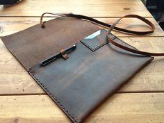 Handmade leather ipad case - iPhone pocket - stylus - card holder. $107.00, via Etsy.