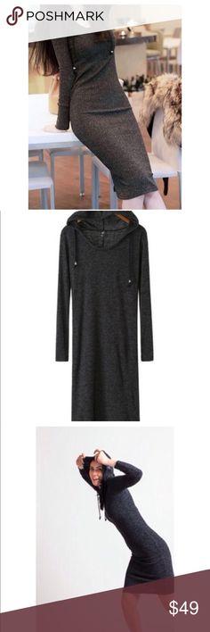 1810b2d319a4 MIDI rib fabric sweater dress with hood Comfortable and sexy sweater dress  with hoodie size S