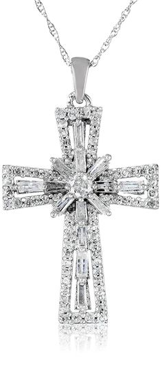 10K White Gold Diamond Cross Pendant Necklace (1 cttw), 18' * Want additional info? Click on the image. (This is an Amazon Affiliate link)