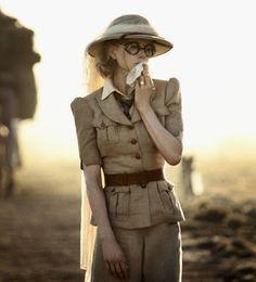 Women's vintage safari | Safari suit and horrendous driving goggles.