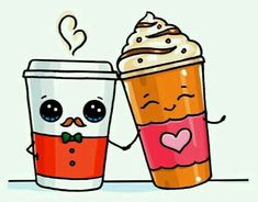 Frappuccino and hot coffee kawaii doodles, cute doodles, best doodles, cute food drawings Cute Food Drawings, Cute Kawaii Drawings, Kawaii Art, Kawaii Doodles, Cute Doodles, Cute Images, Cute Pictures, Kalender Design, Dibujos Cute