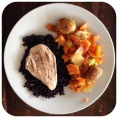 Sweet Potato Hash w/ Grilled Chicken and Black Rice Pilaf {Tyson Gluten Free Grilled & Ready Chicken} #CookitGF #glutenfree