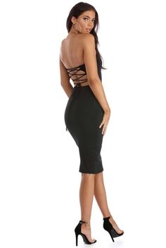 Black Laced With It Tube Dress
