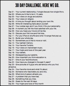 30-Day Writing Challenge/fun activity during a block