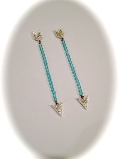 Aquamarine and Diamond Pave Arrow Earrings by WOWTHATSBEAUTIFUL