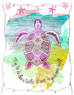 Sea Turtle Art Print 8x10 Metallic Print Beach by LeslieSabella, $20.00   ***Patty's BDay***