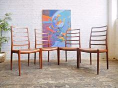 4 Vintage 60s Retro Mid Century Danish Niels Moller Model 82 Teak Dining Chairs