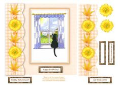 Black Cat In The Autumn Window 8 x 8 Decoupage Card Topper on Craftsuprint designed by Elaine Sheldrake - Featuring one of my water colour paintings. This one depicts the view of the garden in Autumn as seen by the black cat. There are four in this series... Summer, Autumn, Winter
