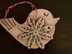 Handmade ceramic bird Christmas ornament. Juliet Promnitz.
