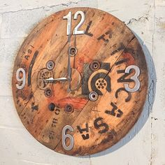These giant clocks add so much character and style to any room. This one just got shipped to Arizona. #Carved_Fixtures  Product Description: Made from a wooden spool / 3ft diameter