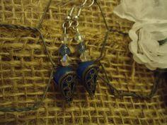 blue crystal earrings by FarmHouseJewels on Etsy