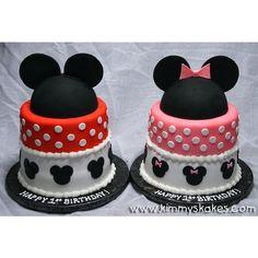 Mickey & Minnie - Children's Birthday Cakes by KimmysKakes on CakeCentral.com found on Polyvore