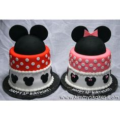 Mickey & Minnie - Children's Birthday Cakes by KimmysKakes on CakeCentral.com found on Polyvore
