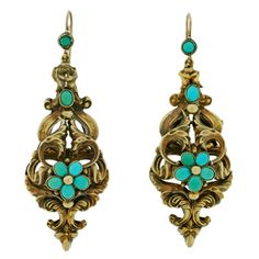 Georgian Hand Wrought Gold And Turquoise Earrings   c.1830