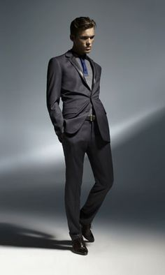 LEATHER TRIM SUIT JACKET  SUIT PANT  TRI COLOURED POLO  TEXTURED SKIN BELT  POINTED LACE UP SHOE