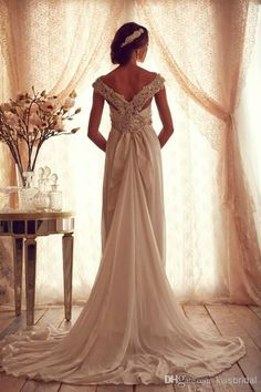 2014 Crystal Beaded Off The Shoulder Wedding Dresses Square Neck Opening V-Back Backless A-Line Court Train Chiffon Bridal Dress Gowns