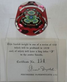 Perthshire PP32 Millefiori Paperweight Limited Edition Certificate 1978 Boxed in Pottery, Porcelain & Glass, Glass, Paperweights | eBay!