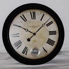 "Station Picard Large Vintage Replica Patio Yard Clock w/ Pedulum 23"" Diameter #FrenchCountry"