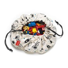 Here is a trendy mini storage bag featuring a cool space print. Kids love to play with their toys wherever they go. Here is why this little storage Toy Storage, Storage Spaces, Toy Bins, Play N Go, Go Bags, Modern Shop, Shining Star, Cool Gifts, Cool Toys