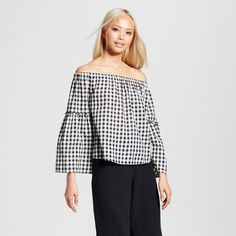 Women's Bardot Bell Sleeve Top - Who What Wear Black Plaid Xxl