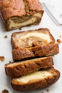 Stuffed Banana Bread Cheesecake banana bread combines two of the best sweet treats into one. Get the recipe from .Cheesecake banana bread combines two of the best sweet treats into one. Get the recipe from . Banana Bread Recipes, Banana Cheesecake Bread, Cheesecake Recipes, Blueberry Recipes, Banana Bread Cheese Cake, Banana Bread Recipe With Pudding, Stuffed Bread Recipes, Breakfast Cheesecake, Banana Breakfast Recipes