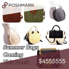 Coming this week. Like to be notified! Super cute straw and rattan bags. Like to be notified. catzlady boutique Bags Crossbody Bags