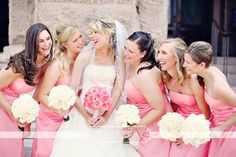 Pink Wedding Ideas. Pink bridesmaid dresses.