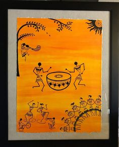 Dancing in the dawn folk art in early style made on cold pressed paper and acrylic paint