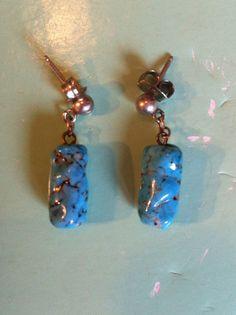 Turquoise pierced stud earrings blue stone by yorkshiretreasure