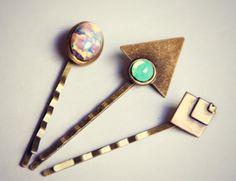geometric opal bobby pin set triangle bobby pin by alapopjewelry